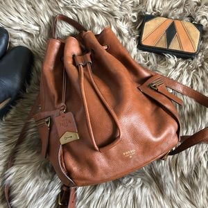 Fossil Vickery Chestnut Brown Drawstring Backpack